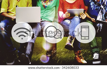 Wireless Technology Online Messaging Communication Concept - stock photo