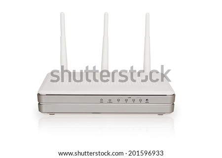Wireless Wi-Fi router isolated on white background - stock photo