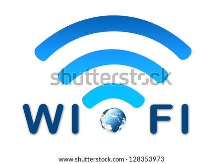 Wireless wifi network blue icon - stock photo