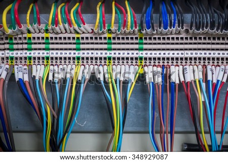 Wires and  industrial electrical control panel - stock photo