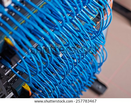 Wires connecting servers - stock photo