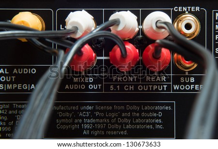 Wires plugged in to the connection panel of a dvd player - stock photo