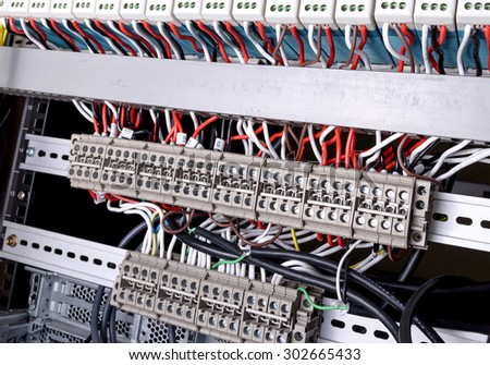 Wiring Control panel with wires in data center - stock photo