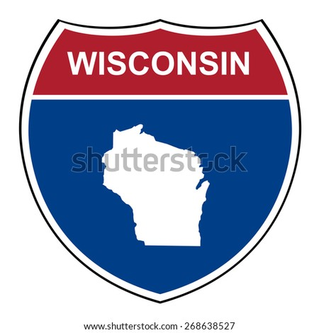 Wisconsin American interstate highway road shield isolated on a white background. - stock photo