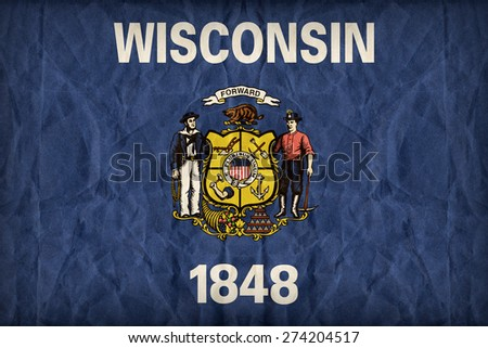 Wisconsin flag on paper texture,retro vintage style - stock photo
