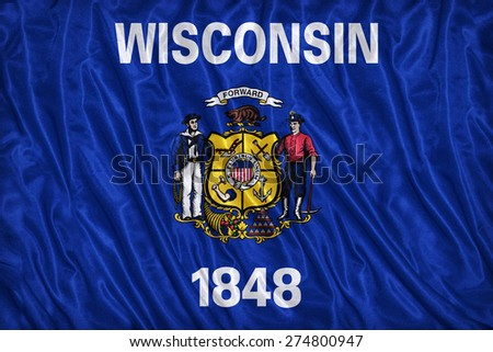 Wisconsin flag pattern on the fabric texture ,vintage style - stock photo
