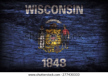 Wisconsin flag pattern on wooden board texture ,retro vintage style - stock photo