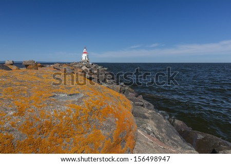 Wisconsin Point Lighthouse On Lake Superior - stock photo