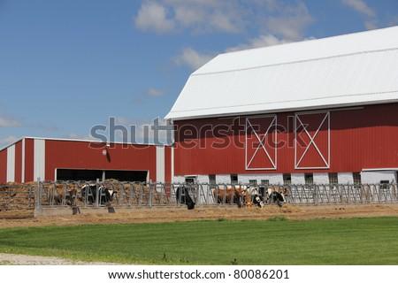 Wisconsin red barn - stock photo