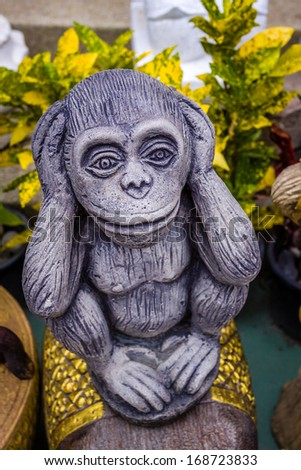 Wise monkey in temple - stock photo