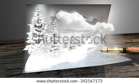 Wish card. Snowy mountains and trees coming out of the postcard seem real. - stock photo