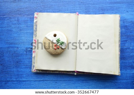wish list,results of the year,Letter to Santa.Christmas gingerbread on a wooden table.New Year Resolutions - stock photo