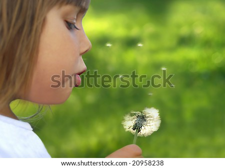 Wishes, Beautiful little girl blowing dandelion - stock photo