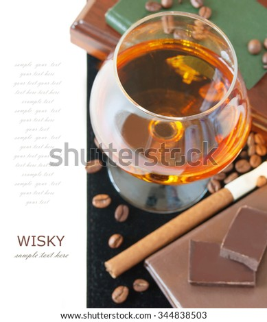Wisky and cigar isolated on white background - stock photo