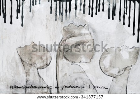 """WISLA, POLAND - OCTOBER 16, 2014:  The oil painting entitled """"the immoderation in the eating  and the drinking"""" by Monika Slusarczyk - stock photo"""