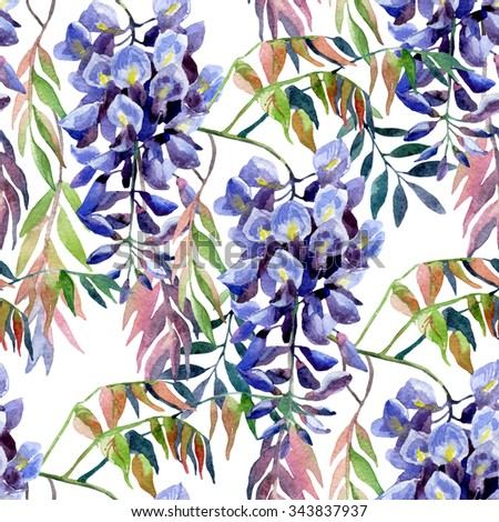 Wisteria flower. Watercolor wisteria seamless pattern. Hand painted illustration on white background - stock photo