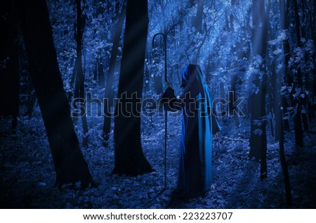 Witch at night in the moonlight forest - stock photo