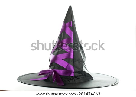 witch  black color hat on white background - stock photo