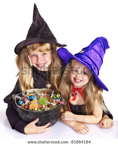Witch  children with trick or treat. Halloween. - stock photo
