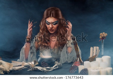 witch conjures - stock photo