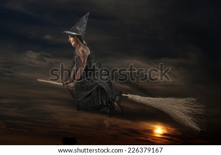 Witch flying on a broom - stock photo