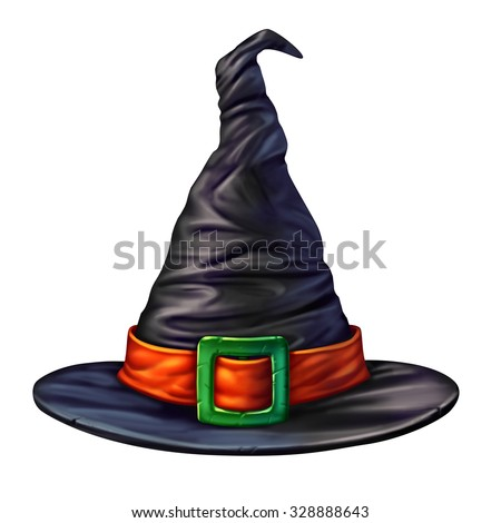 Witch hat isolated on a white background as a spooky mystical dimensional black head garment for a sorcerer or sorceress halloween graphic element of a seasonal magical character. - stock photo