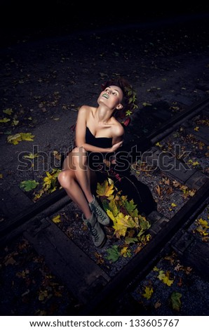 Witch on rails - stock photo
