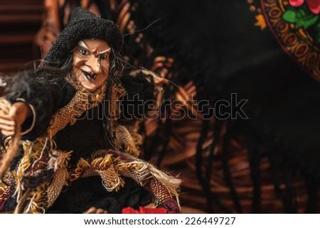 witch wicker basket Halloween toy horror czech russian - stock photo