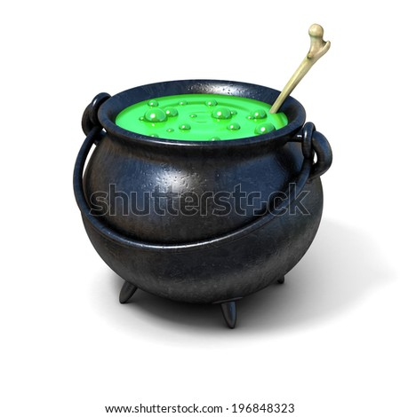 witches cauldron 3d illustration - stock photo