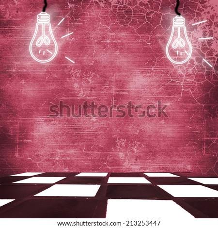 with ceramic floor Illustration of lightbulb  inside.  - stock photo