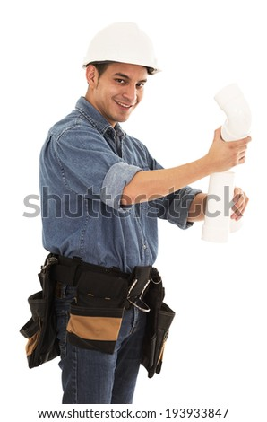 with hard hat and pipes on a white background - stock photo