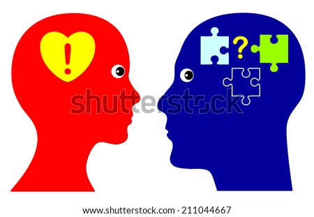 With Heart and Mind. Concept of emotional and rational intelligence as successful strategy in personal life and in business - stock photo