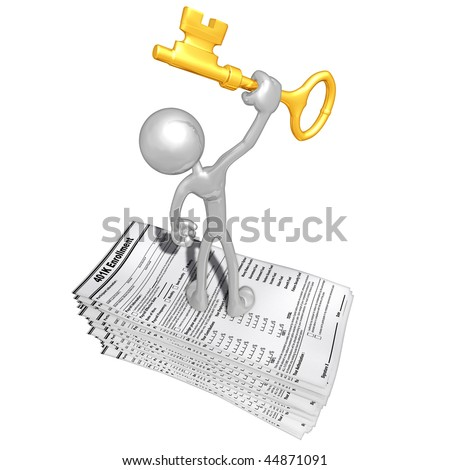 With 401K Forms And Gold Key - stock photo