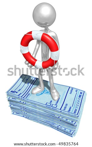 With Life Ring On Medical Prescriptions - stock photo
