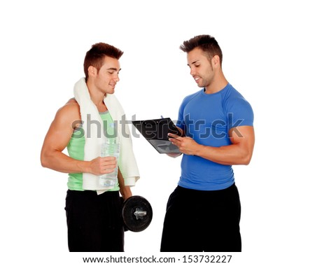 With my personal trainer isolated on a white background - stock photo