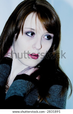 with red lips - stock photo
