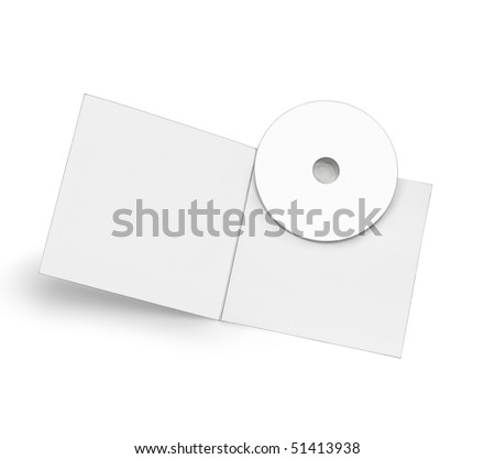 Withe copy space cd with a blank cardboard pack - stock photo