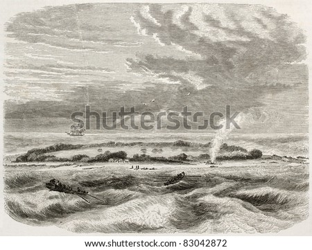 Witsunday island old view, coral atoll. Created by De Berard, published on Le Tour du Monde, Paris, 1860 - stock photo