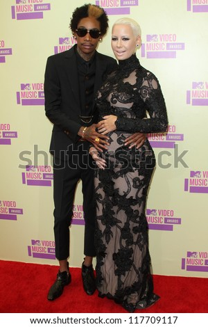 Wiz Khalifa and Amber Rose at the 2012 Video Music Awards Arrivals, Staples Center, Los Angeles, CA 09-06-12 - stock photo