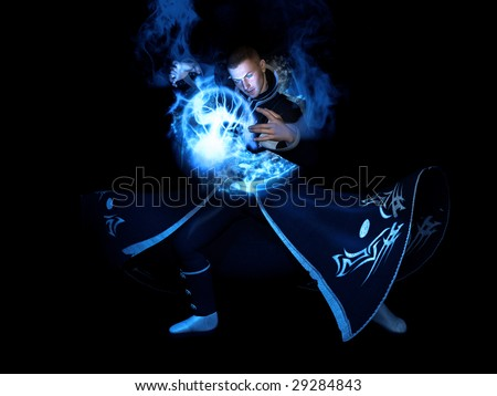 wizard casting water spell - stock photo