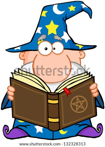 Wizard Holding A Magic Book. Raster Illustration.Vector Version Also Available In Portfolio. - stock photo