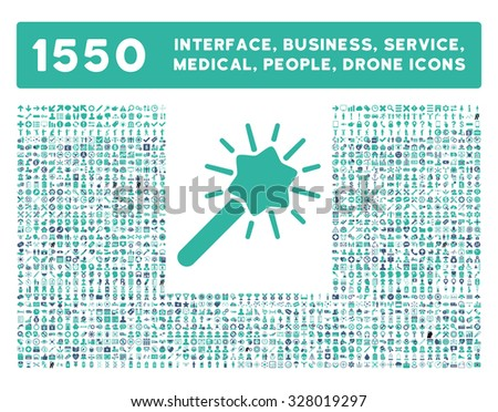 Wizard icon and other web interface, business, tools, people, medical service and awards glyph symbols. Style is bicolor flat symbols, cobalt and cyan colors, rounded angles, white background. - stock photo