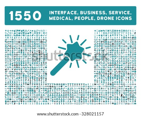 Wizard icon and other web interface, business, tools, people, medical service and awards glyph symbols. Style is bicolor flat symbols, soft blue colors, rounded angles, white background. - stock photo