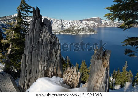 Wizard Island in Crater Lake National Park, Oregon, is framed by weathered wood of ancient broken tree stump - stock photo