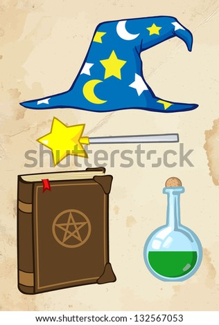 Wizard Stuff With Old Paper Background. Raster Illustration.Vector Version Also Available In Portfolio. - stock photo