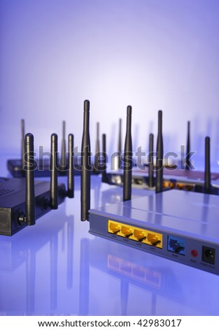 Wlan Router in blue light - stock photo