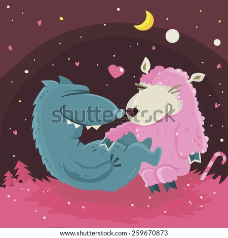 Wolf and sweet pink sheep wish you a happy valentines day - stock photo