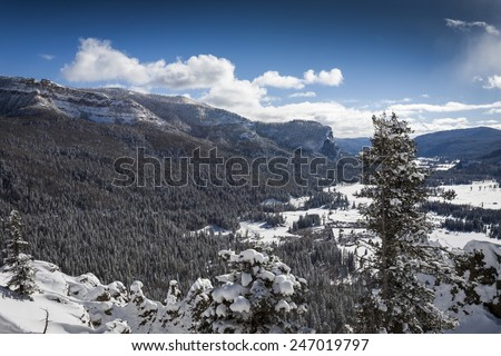 Wolf Creek Pass snowy winter in Colorado - stock photo