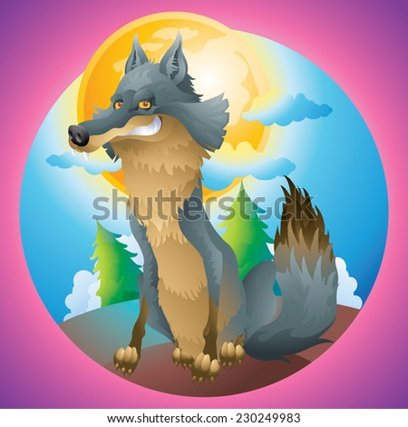 Wolf posing at the moon cartoon illustration - stock photo