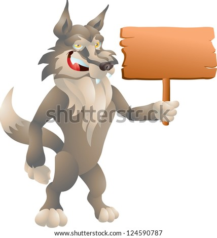 wolf with sign - stock photo